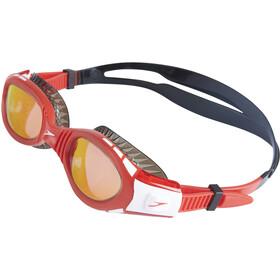 speedo Futura Biofuse Flexiseal Mirror Lunettes de protection Enfant, black/lava red/orange gold